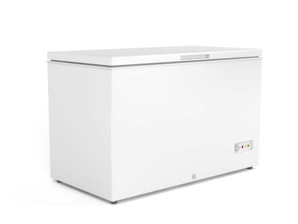 Chest freezer on white background